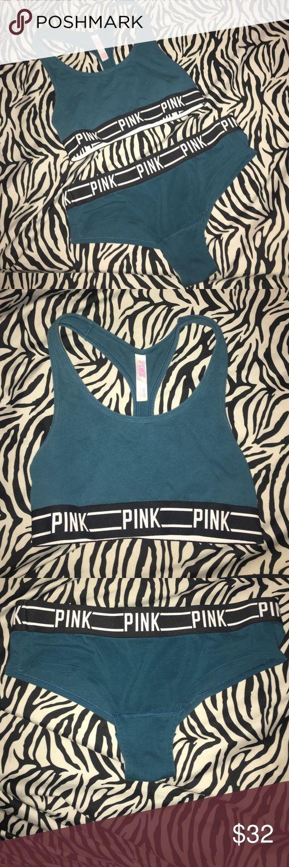 Victoria Secret Pink Bra And Underwear Set Teal Blue Victoria Secret Pink Set. Bra- Xs Underwear- S PINK Victoria's Secret Intimates & Sleepwear Bras