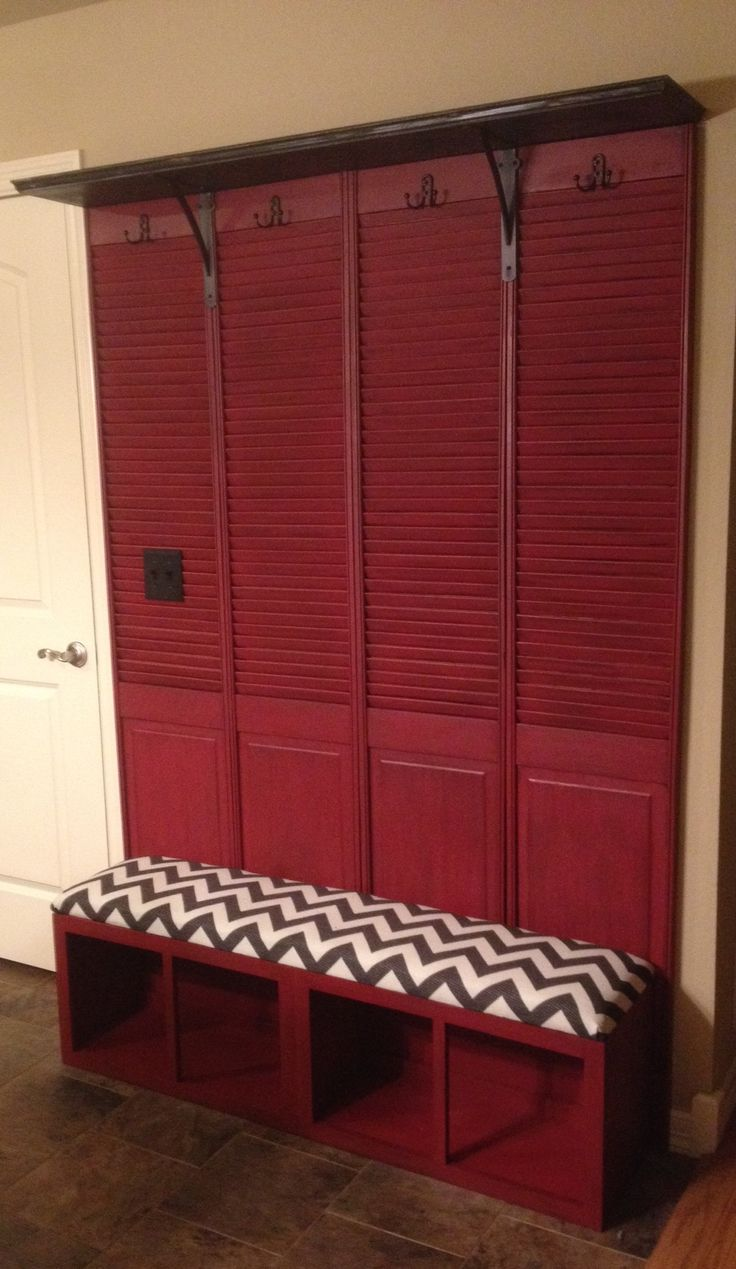 Mudroom bench made from repurposed shutter doors and kitchen cabinets.  I'm so pleased with the way it turned out!