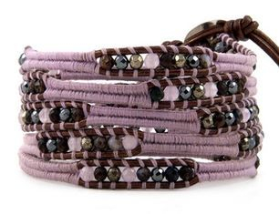 China Women's Five Layer Amethyst Leather Wrap Bracelets / Bangles 82cm With Stone Beads supplier