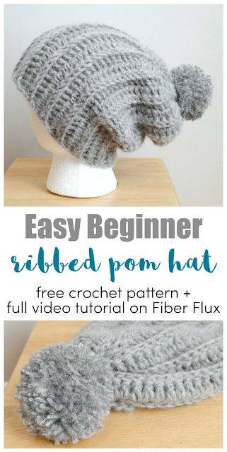 Easy Beginner Ribbed Pom Hat, Free Crochet Pattern + Video