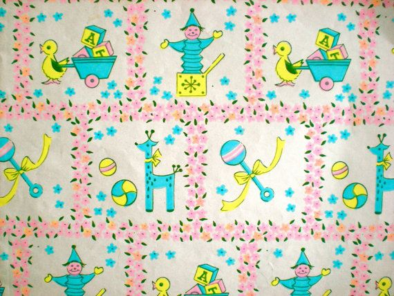 Vintage baby shower wrapping paper.