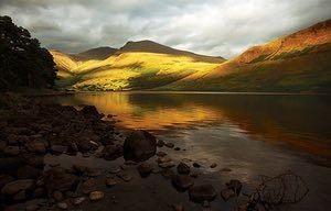 'Wastwater, Cumbria, in the evening light is hard to beat. Above the far shore are Scafell (centre), with Scafell Pike, England's highest mountain, a little to the left. At 258ft (79m), Wastwater is England's deepest lake.'