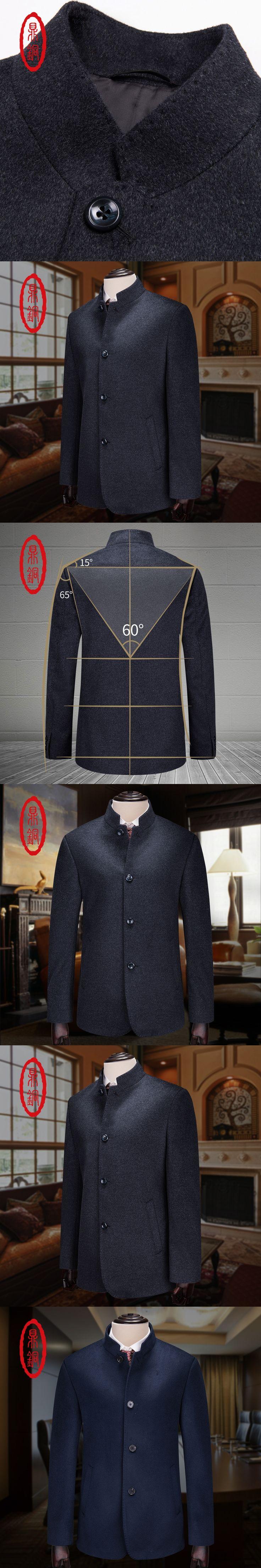 2017 Brand Fashion Men's Autumn Winter Coat Turn-down Collar Wool Blend Men PeaCoat men jacket men wool cashmere Overcoat 70102