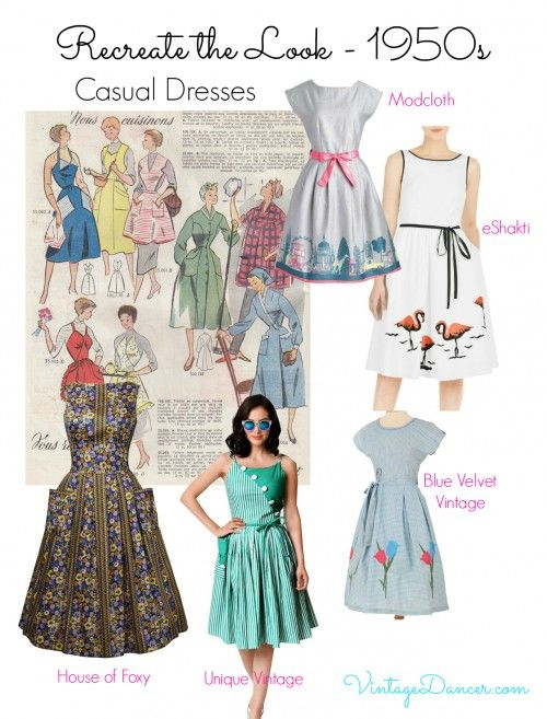 Re-create 1950s fashion: For a relaxed take on 1950s, choose one of these casual but pretty dresses. Shop VintageDancer.com