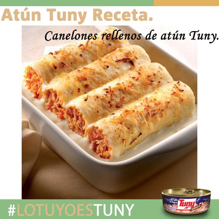 Atún Tuny Receta: Canelones rellenos de atún Tuny. Estos canelones rellenos de atún Tuny son mucho más fácil de hacer de lo que parece. Ideales para compartir con la familia, serán un éxito en la mesa.  Comerlos con la capa de queso crujiente es una sensación increíble. Además, los canelones rellenos de atún Tuny se pueden preparar con anterioridad y hornearse justo antes de ser degustados.  http://miespacioatuntuny.blogspot.mx/2015/02/atun-tuny-receta-canelones-rellenos-de.html