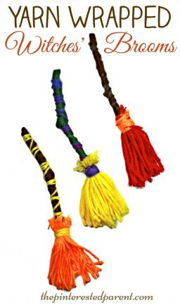 Yarn wrapped witches' brooms crafts for Halloween. A great fine motor skill activity and kid's crafts. Arts & craft for preschoolers.