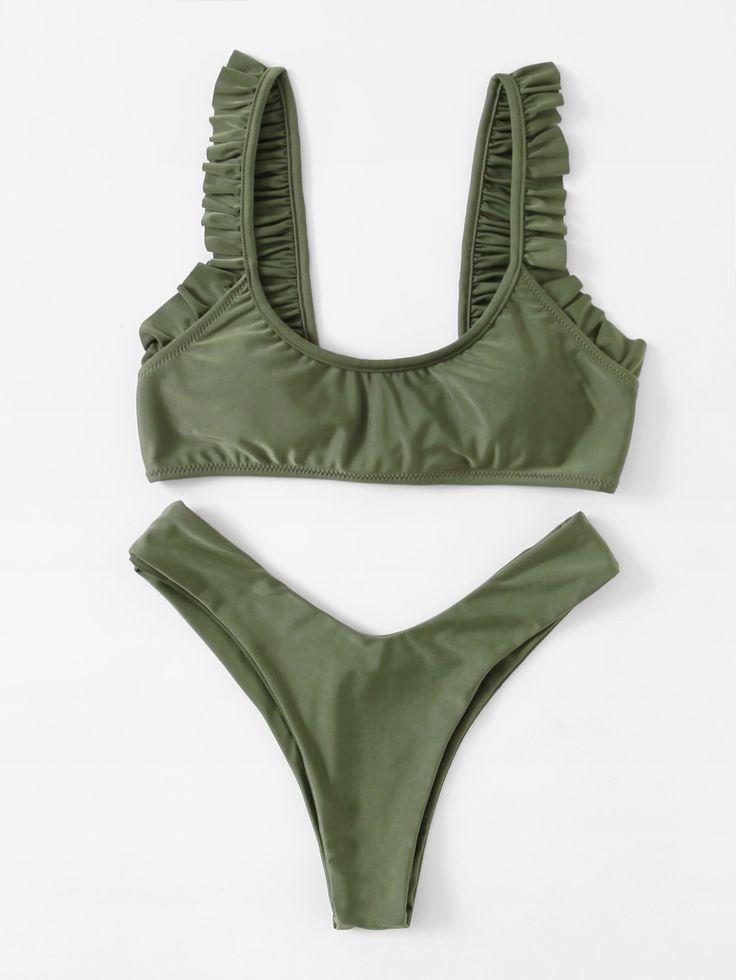 Shop Ruffle Trim High Leg Bikini Set online. SheIn offers Ruffle Trim High Leg Bikini Set & more to fit your fashionable needs.