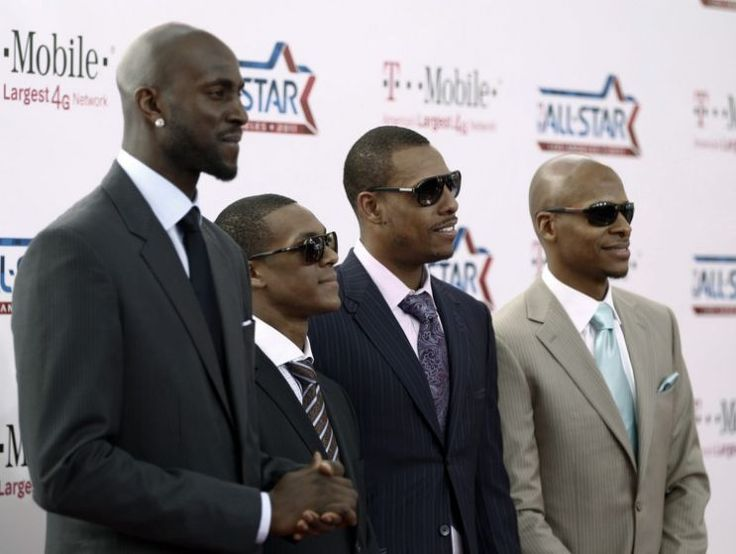 Kevin Garnett, Rajon Rondo and Paul Pierce probably wish we cropped Ray Allen out of this photo. (AP)    The 2008 Celtics are planning a title anniversary vacation, and Ray Allen isn't invited
