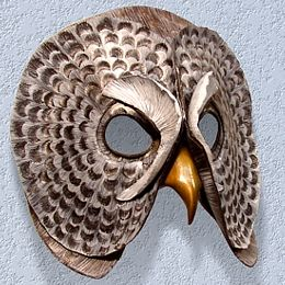 owl mask for wall hanging ~ can be made to look more cartoonish in pretty colours for kid's room