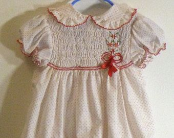 Smocked Baby Dress by Polly Flanders, Vintage size 24 Months, White with Red and Embroidered Poinsettia Details