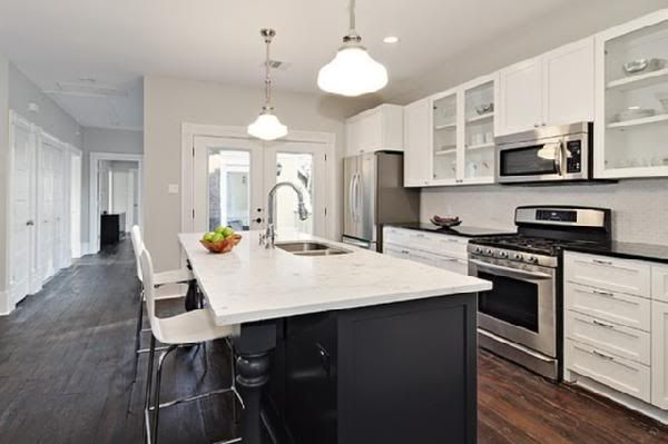 white cabinets with dark counter tops, dark stained island with light counter top: Kitchens Paintings Colors, Grey Wall, Grey Kitchens, Dark Counter, Benjamin Moore Moonshine, White Cabinets, Gray Wall, Black Kitchens Islands, White Kitchens
