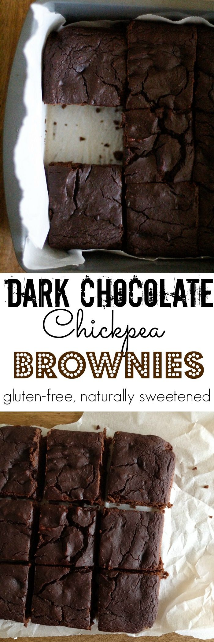 Dark Chocolate Chickpea Brownies - healthy flourless brownies made with garbanzo beans and naturally sweetened | TheRoastedRoot.net…