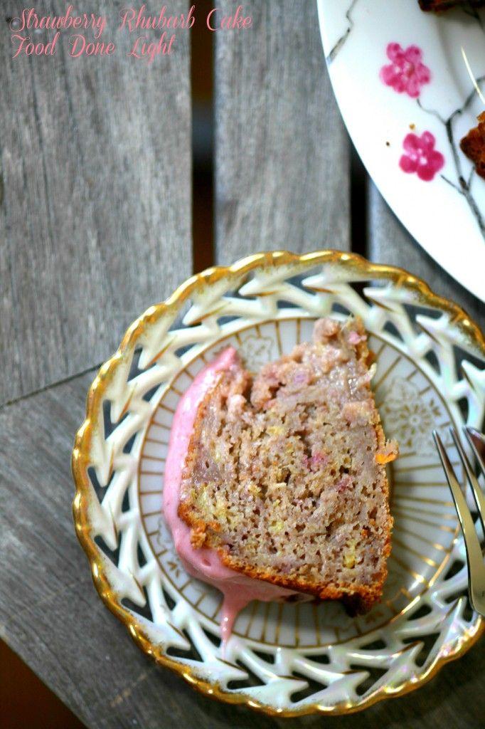 Lightened Strawberry Rhubarb Cake Food Done Light #strawberrycake #rhubarbcake #strawberryrhubarb #lightcake