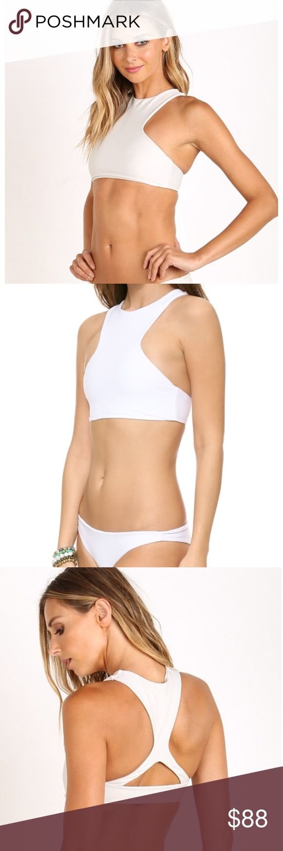 MIKOH Barbados Bikini Top & Bottom - Driftwood NEW This is a Classic swimsuit you will have for years!! A high neckline gives off a sporty vibe with a triangle cut out on racer back in Mikoh's signature seamless fabric that's made to last season to season. Fully lined. Driftwood - cream off white color. Fabric: 80% Nylon 20% Spandex. Small top but fits more like an XS & Medium bottom but fits like a Small. This is NEW! The top has a stain & bottom has a small imperfection - please see…