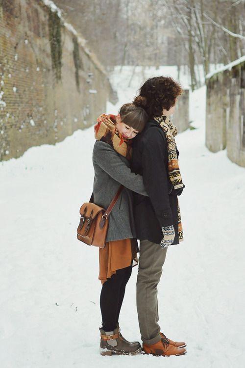 Hug in snowy weather