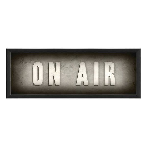 Spicher and Company 'On Air' Vintage Look Theater Sign Artwork (430 RON) ❤ liked on Polyvore featuring home, home decor, wall art, words, signs, text, decor, natpisi, black and text signs