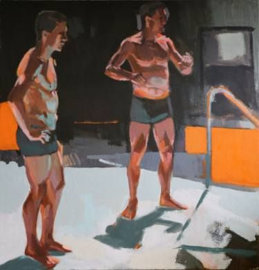 "Saatchi Art Artist Aaron Hauck; Painting, ""figures with orange"" #art"