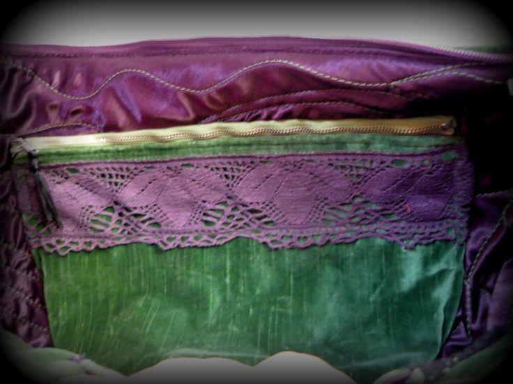 Zöld-lila bohém táska -Handmade by Judy Majoros