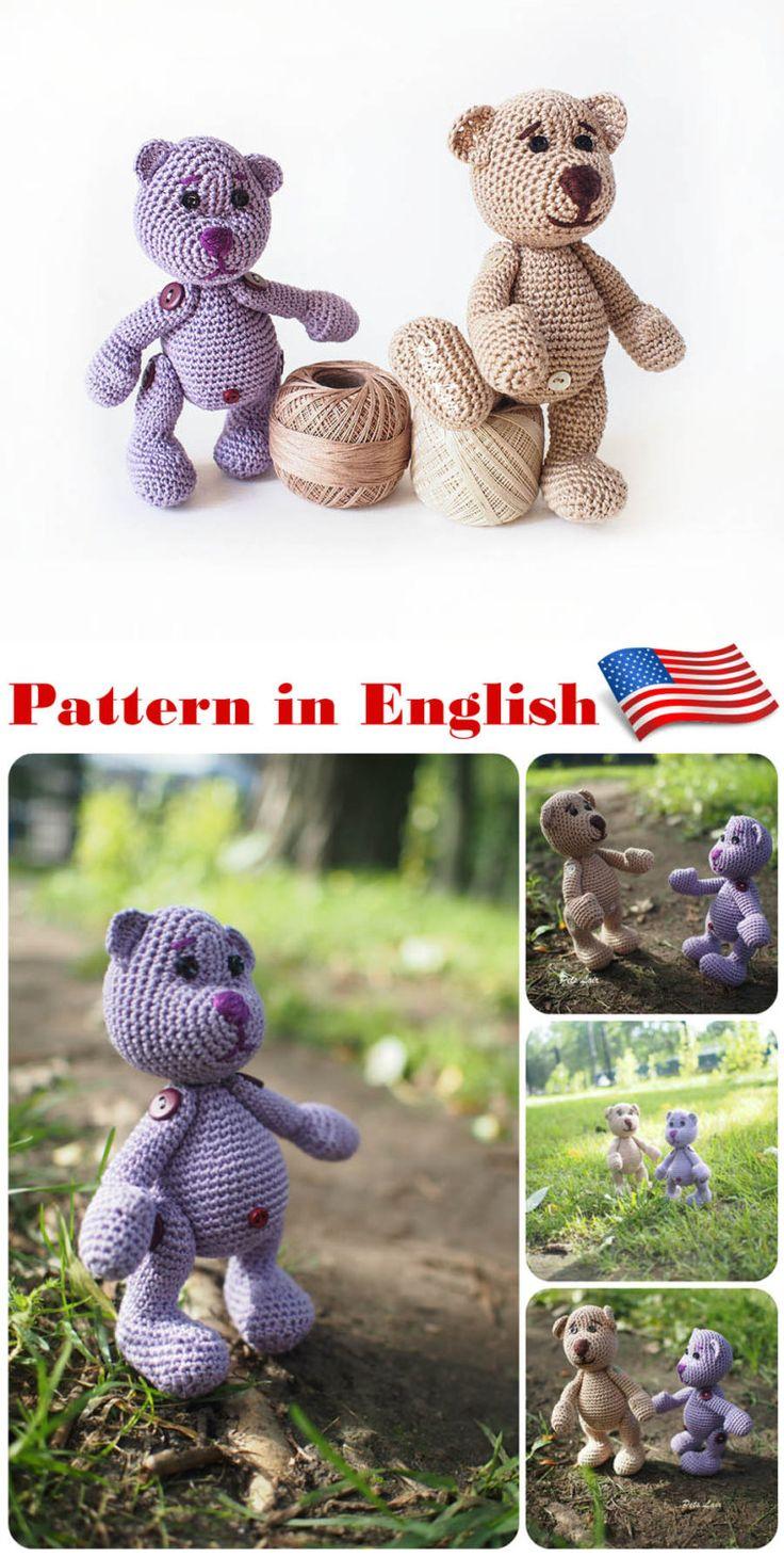 Cute toy amigurumi Crochet Teddy Bear pattern, crochet tutorial in ENGLISH…