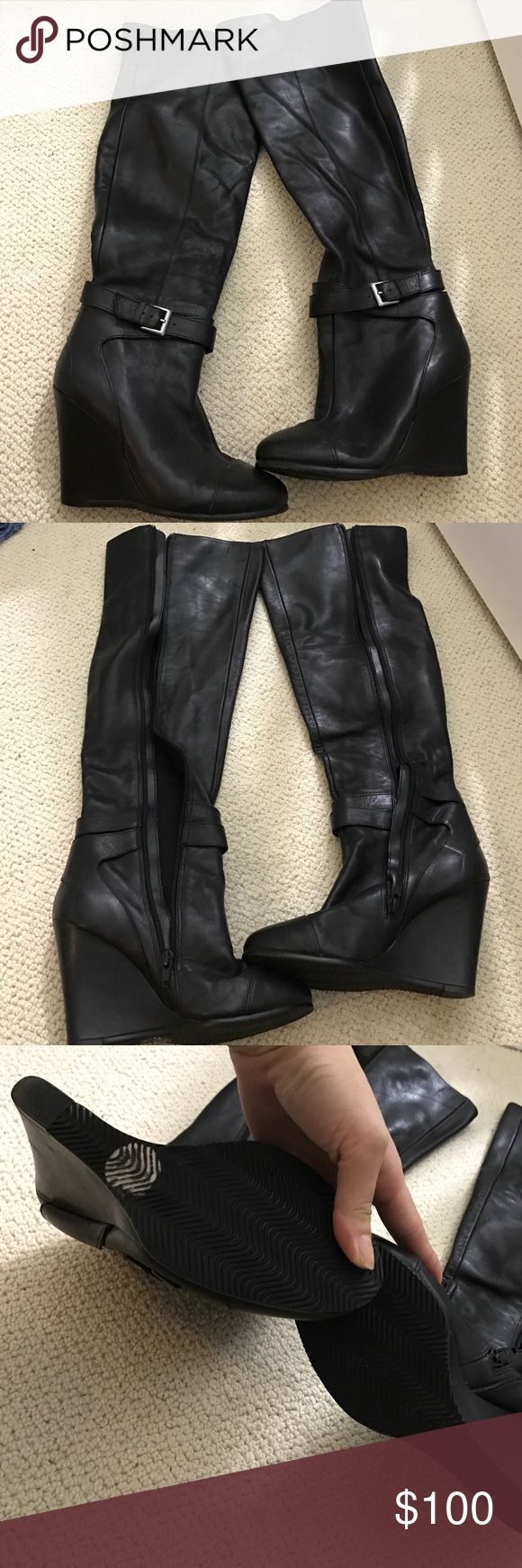 New Kelsi Dagger over the knee wedge boots size6.5 Brand new never worn. Only tried on in the house. Over the knee wedge leather boots from kelsi dagger. Kelsi Dagger Shoes Winter & Rain Boots