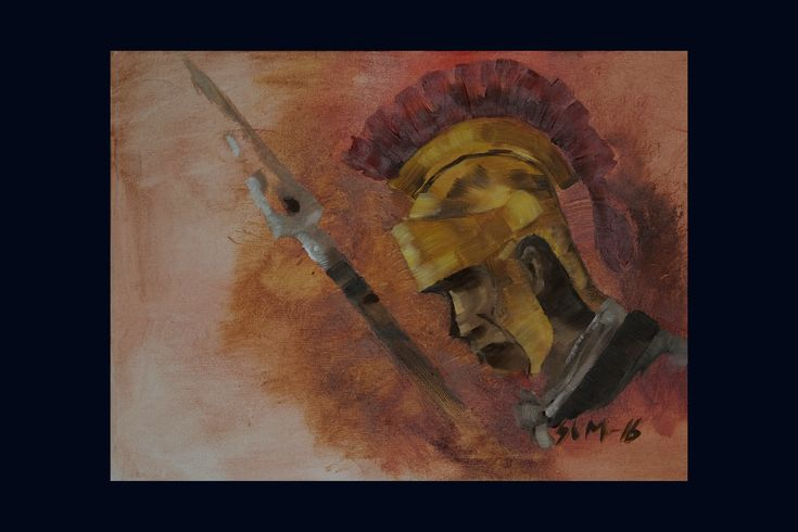 """330$ """"Roman soldier with spear"""". This painting is an original oil-painting. Painted in gold and red. It is a motive with a historic breath of military power."""
