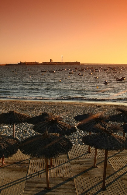 Beach la Caleta, where Halle Berry step on in James Bond series. Cádiz, Spain