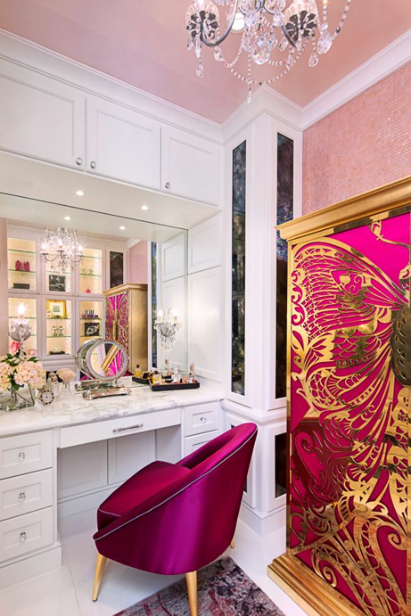 Watermelon Colored Dressing Room by @bravointerior with Mademoiselle armoire and Nessa chair from KOKET http://www.bykoket.com/guilty-pleasures/casegoods/mademoiselle-armoire.php