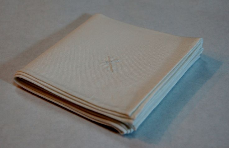 """100% cotton men's handkerchief; 16"""" x 16"""" with hand embroidered cross and rolled hems; white; 1/2/17."""