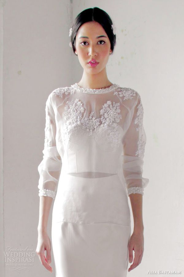 alia bastamam 2013 wedding dress illusion bodice sleeves close up シックなウェディングドレス
