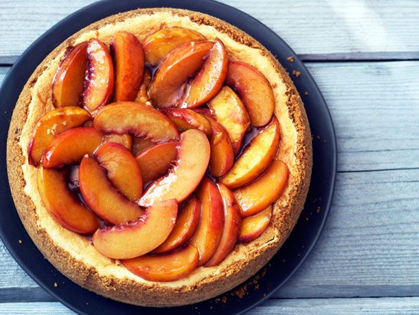 Bourbon-Peach-Cheesecake: Sweet, Dessert Recipes, Peach Cheesecake, Food, Boozy Dessert, Peaches, Bourbon Roasted Peach, Cheesecake Recipes, Serious Eats