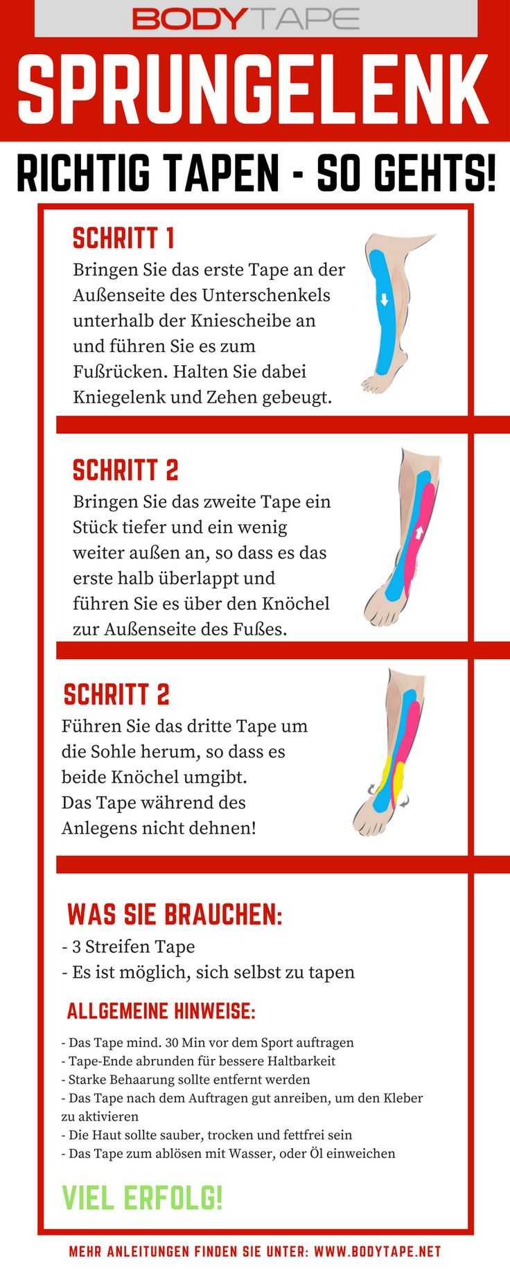Sprunggelenk richtig Tapen - Kinesiologie Tape Anleitung für das Sprunggelenk.  Mehr Anleitungen unter: www.taping-guide.com