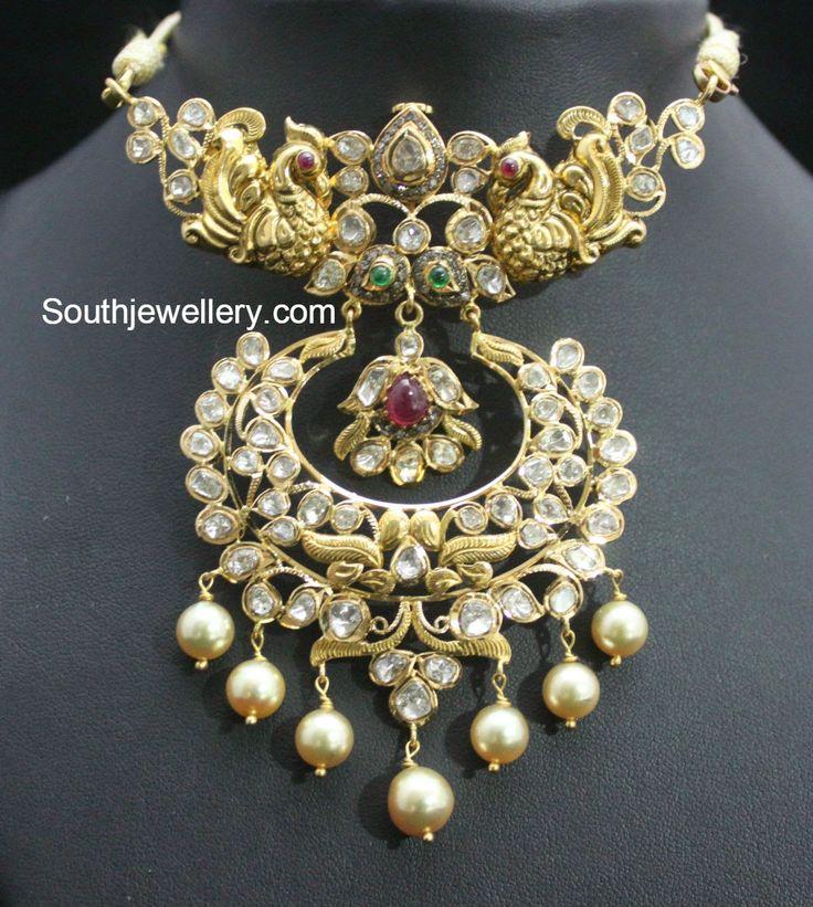 South Indian jewellery design-uncut pacchi choker
