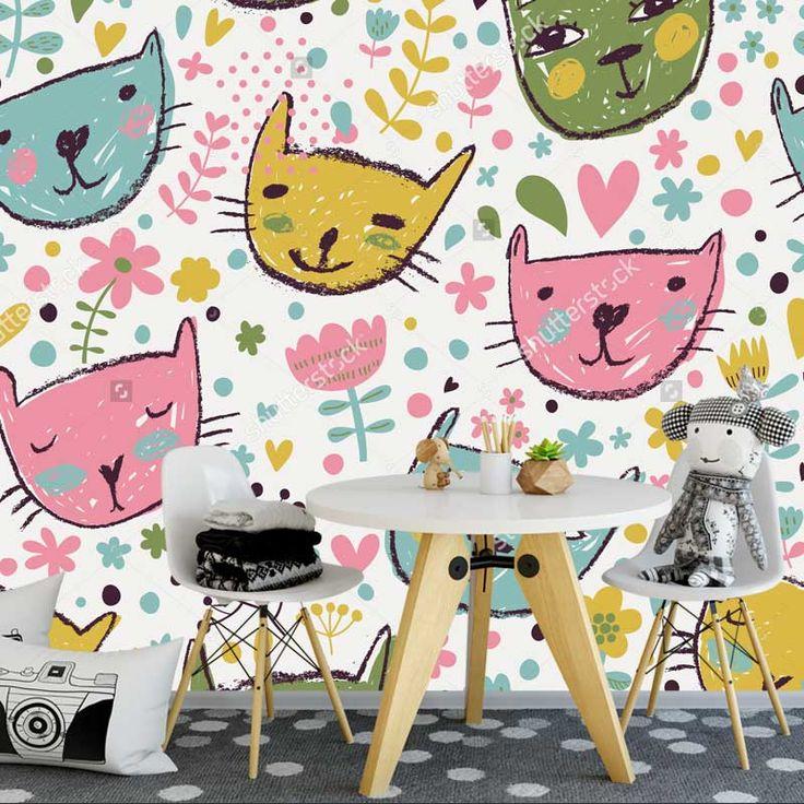 Fotobehang Kattenkopjes   Maak het jezelf eenvoudig en bestel fotobehang voorzien van een lijmlaag bij YouPri om zo gemakkelijk jouw woonruimte een nieuwe stijl te geven. Voor het behangen heb je alleen water nodig! #behang #fotobehang #print #opdruk #afbeelding #diy #behangen #meisjeskamer #meidenkamer #kat #katten #poes #katjes #getekend #illustratie #cartoon #schattig