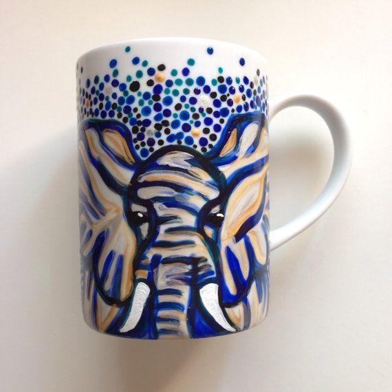 Elephant Rainbow Heart Mug HandPainted by YellowSunLisa on Etsy