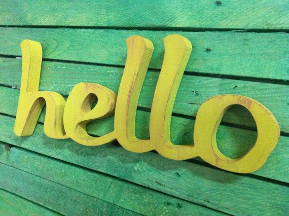 Wood sign home decor word HELLO wooden sign script by svetulka, $39.00
