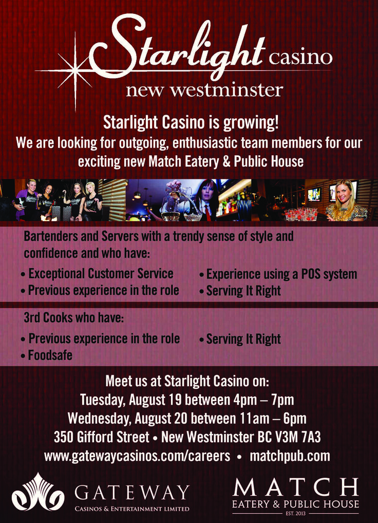 Last chance to apply for #StarlightCasino's new Match Eatery! Posted Aug 6.