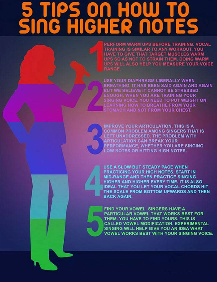 Sing higher notes with this infographic showing 5 tips on how to sign higher notes. #musicbiz
