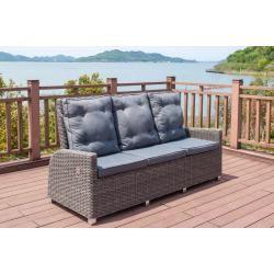 B-Ware: Outflexx Dining 3-Sitzer Sofa, grau, Polyrattan, 210x83x110 cm, mehrf. verstellb.