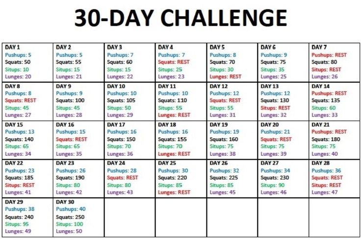 30 day challenge- Push Ups, Squats, Sit Ups, Lunges ...