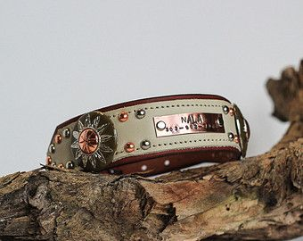PERSONALIZED Dog Collar Leather Dog Collar Southwestern Dog Collar Western Collar Wide Dog Collar