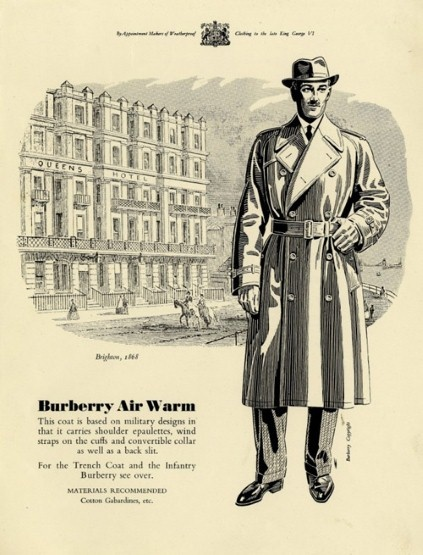 The Burberry Trench Coat In 1901 Burberry was commissioned by the War Office to design its officers' uniforms, a charge which would develop in 1914 into the creation of its most iconic product; the trench coat. Left: Burberry archive poster. via telegraph.co.uk