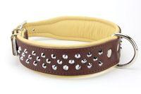 Collier POUR CHIEN en cuir clouté marron et écru 35€ http://www.hopdog.fr/colliers-cuir-pour-chiens-gros-et-molosses/collier-pour-chien-en-cuir-cloute-marron-ecru,fr,4,CMP7.cfm