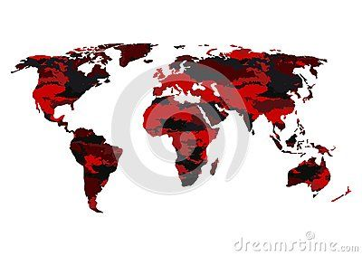 World map camouflage-vector illustration. Banner camouflage red black on the world map.