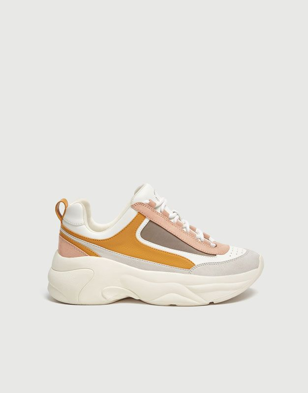 Fashion Trainers With Mustard Detail Pull Bear Sneakers Trainers Fashion Dream Shoes