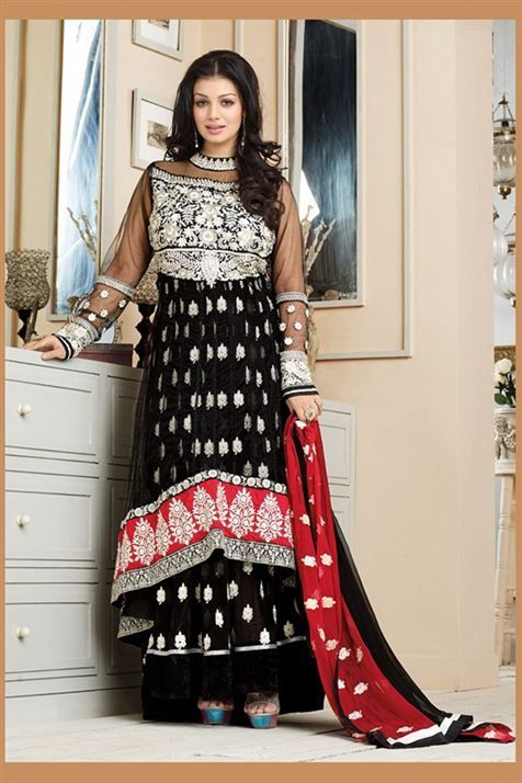 Scintillating Ayesha Takia Black, Red Georgette Heavy Embroidered Long  Anarkali Suit