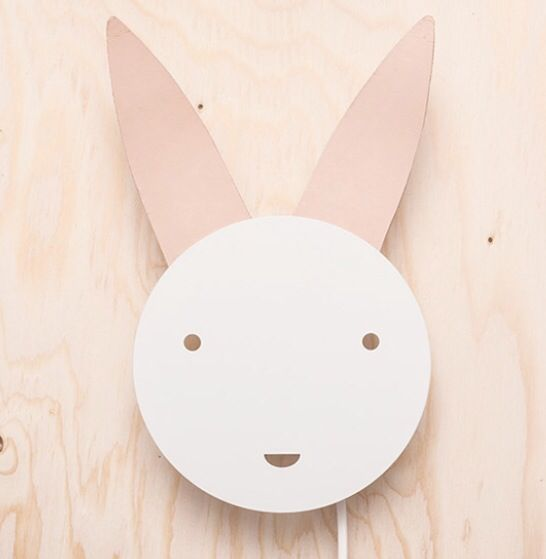 Lilys Island Bunny wall lamp. Also in black.