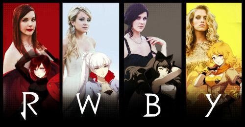 Team RWBY with their voice actresses ✨