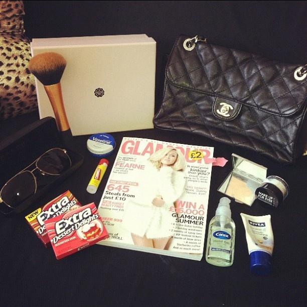 "@jasmine_london's photo: ""@Glossybox Brasil UK #myglossyhandbag #extra #realtechniques #makeupforever #glossybox #carmex #vaseline #nivea #mirror #ralphlauren #sunglasses #competition"""