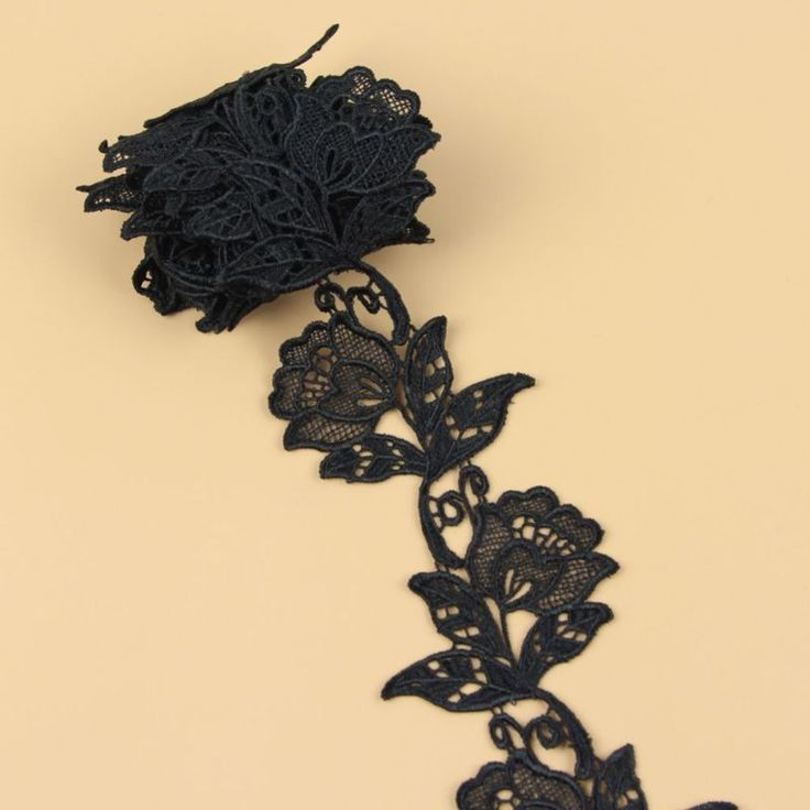 New arrival 2 Yards Black Rose Flower Lace Venice Applique Sewing Trims in Crafts, Sewing & Fabric, Sewing | eBay