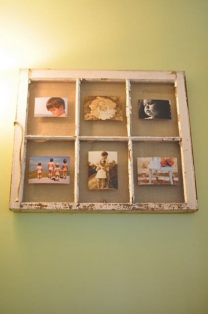 old window picture frame backed with burlap: Idea, Craft, Sweet, Vintage Window, Old Windows, Window Picture Frames, Diy, Window Frames